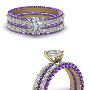 Purple Topaz Eternity Bridal Set