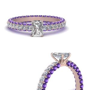 Radiant Cut Purple Topaz Eternity Ring