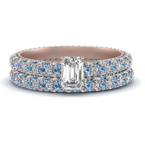 Topaz Pave Wedding Ring Set
