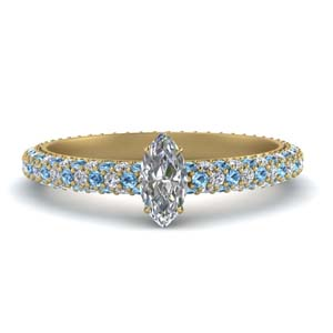 Marquise Cut Pave Diamond Ring
