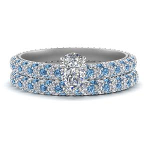 Blue Topaz Pave Eternity Ring Set