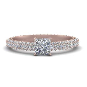Pave Eternity Princess Cut Diamond Ring