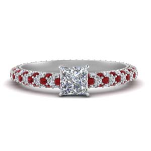 Eternity Diamond Ring With Ruby