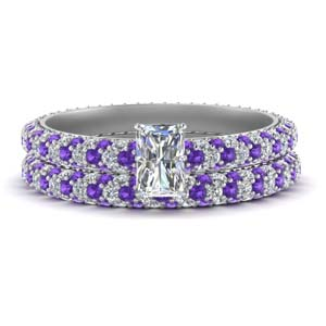 Purple Topaz Bridal Ring Set