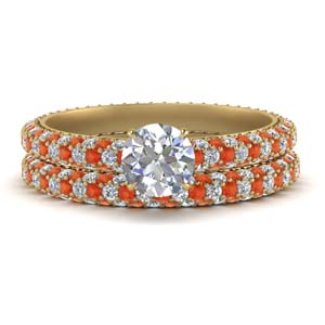 Eternity Bridal Set With Orange Topaz