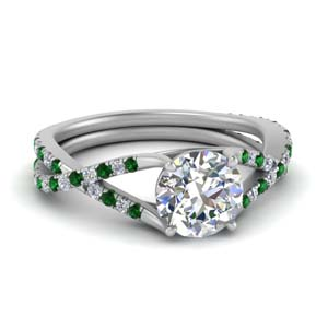 Emerald 4 Prong Split Diamond Ring