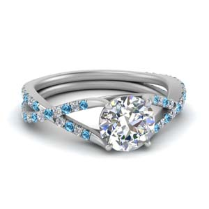 Platinum 4 Prong Blue Topaz Ring