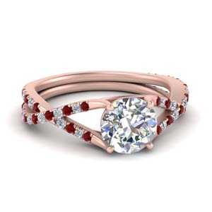 4 Prong Split Ruby Twisted Ring