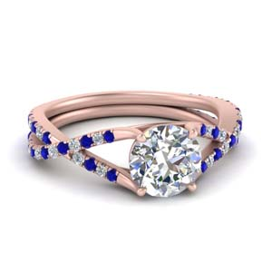 Rose Gold Sapphire Twisted Ring