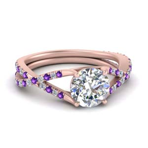 4 Prong Purple Topaz Twisted Ring