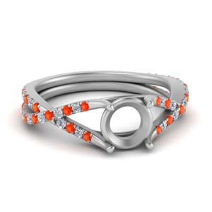 Semi Mount Twisted Orange Topaz Ring