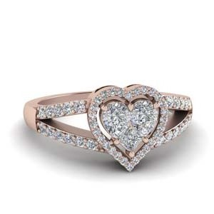 nvisible Set Heart Halo Diamond Ring