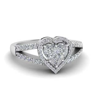 Invisible Set Heart Halo Diamond Ring