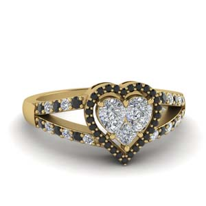 Heart Halo Black Diamond Ring