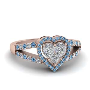 Invisible Set Ring With Blue Topaz