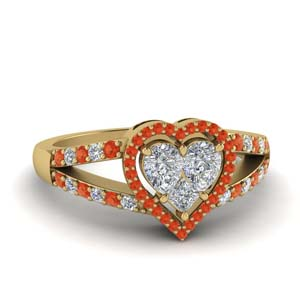 Heart Halo Orange Topaz Ring
