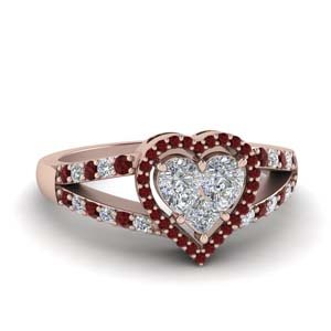 Invisible Set Heart Halo Ruby Ring