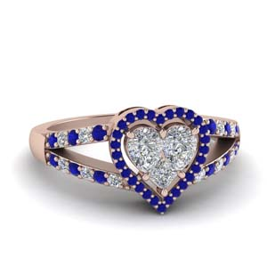 Invisible Set Heart Halo Sapphire Ring