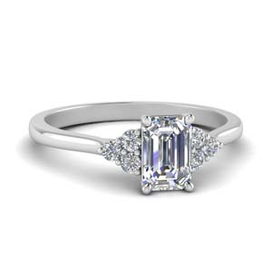 petite cathedral emerald cut diamond engagement ring in FD9275EMR NL WG