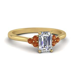 petite cathedral emerald cut diamond engagement ring with orange sapphire in FD9275EMRGSAOR NL YG