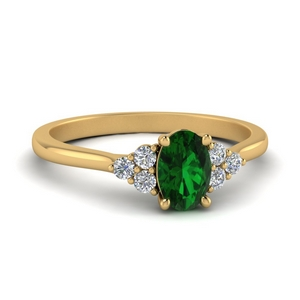Petite Cathedral Emerald Wedding Ring