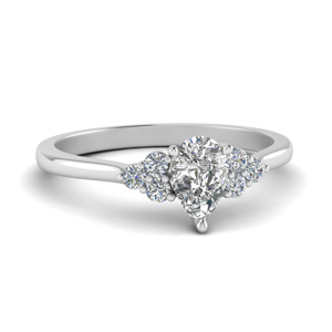3 Side Stones Pear Diamond Ring