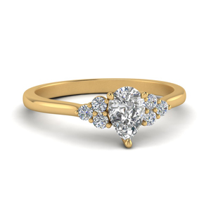 Cathedral Pear Diamond Ring