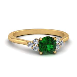 Gold Delicate Emerald Ring