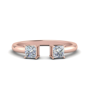 Princess Cut Two Stone Open Ring