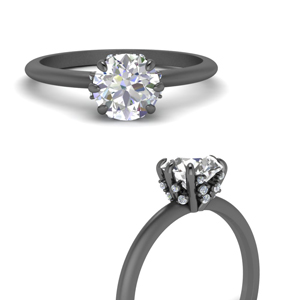 Black Gold Solitaire Ring