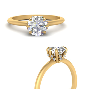 Hidden Diamonds 6 Prong Solitaire Ring