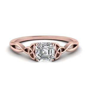Asscher Cut Irish Solitaire Ring