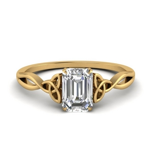 Emerald Cut Diamond Celtic Ring