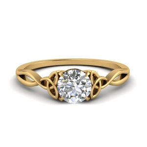 Split Celtic Round Solitaire Ring