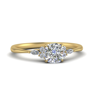 Cushion Cut Side Stone Ring