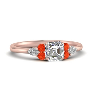 Asscher Cut Orange Topaz Ring