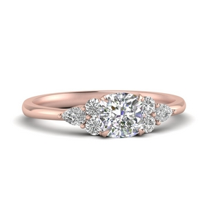 Cluster Engagement Ring In Rose Gold