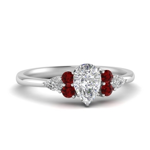 Ruby With Pear Diamond Ring
