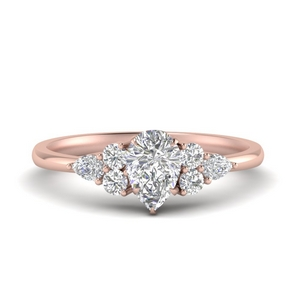 Pear Diamond Accented Engagement Ring