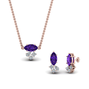 Cluster Marquise Pendant And Matching Earring