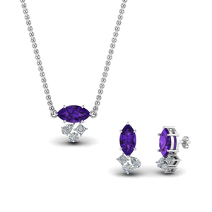 Purple Amethyst Pendant And Matching Earring