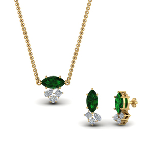 Emerald Pendant And Matching Earring