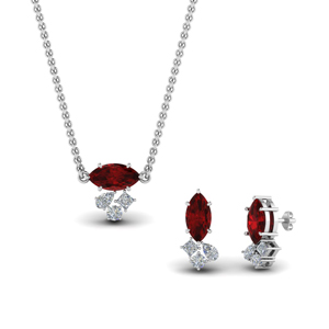 Ruby Pendant And Matching Earring