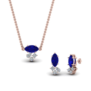 Cluster Sapphire Pendant And Earring