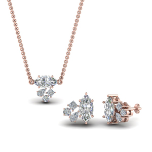 Marquise Cluster Pendant & Earrings