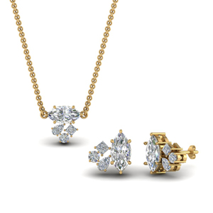 Gold Marquise Cluster Pendant & Earrings