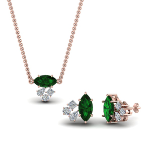 Pink Gold Emerald Pendant & Earrings