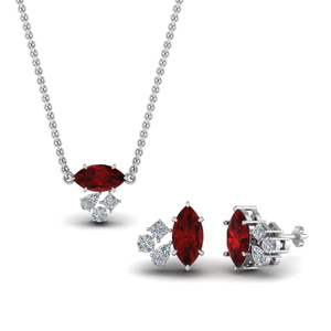 Ruby Cluster Pendant & Earrings
