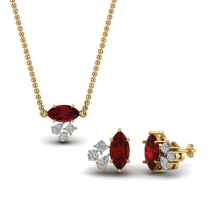 Ruby Marquise Cluster Pendant & Earrings
