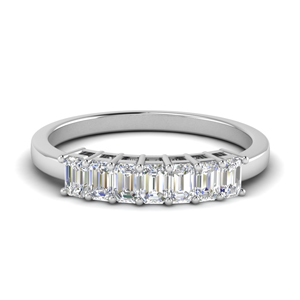 Seven Stone Emerald Cut Wedding Band